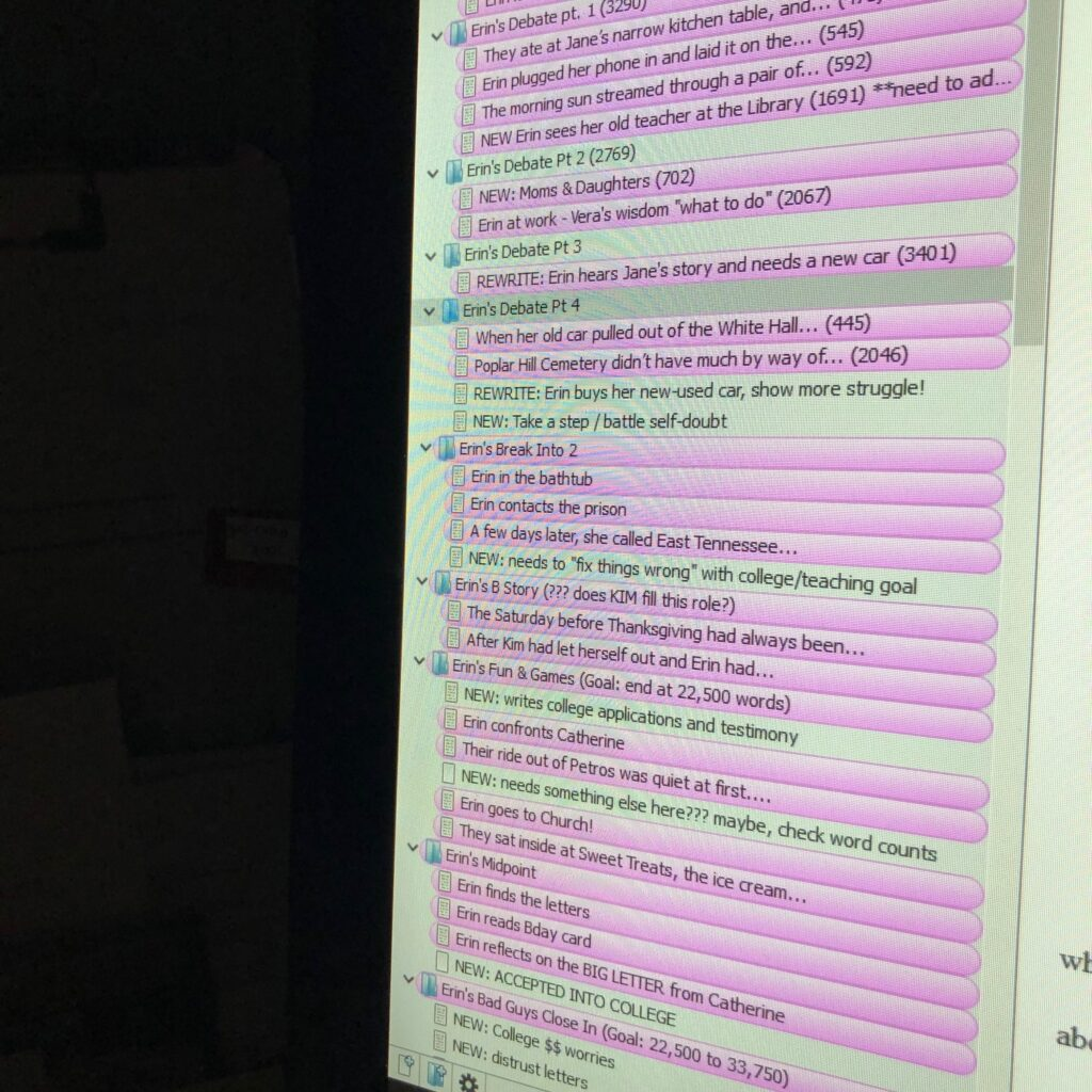 Scrivener software is shown with a list of scene descriptions, some highlighted in pink.