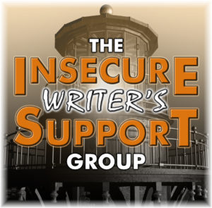 "A lighthouse is shown in sepia tones, overlayed with the words ""The Insecure Writer's Support Group"""