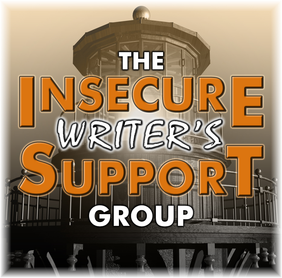 The logo of the Insecure Writer's Support Group shows a lighthouse in sepia tones behind the lettering of the group's name.